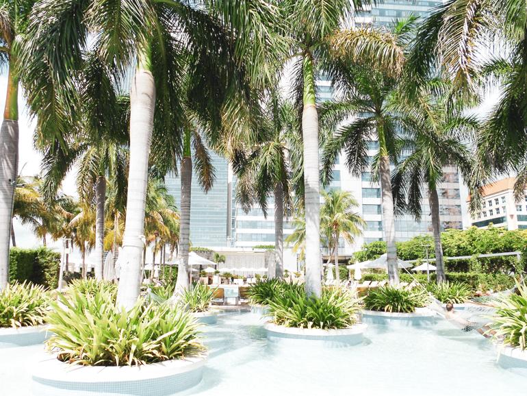 het tropische zwembad van de Four Season Hotel in Miami